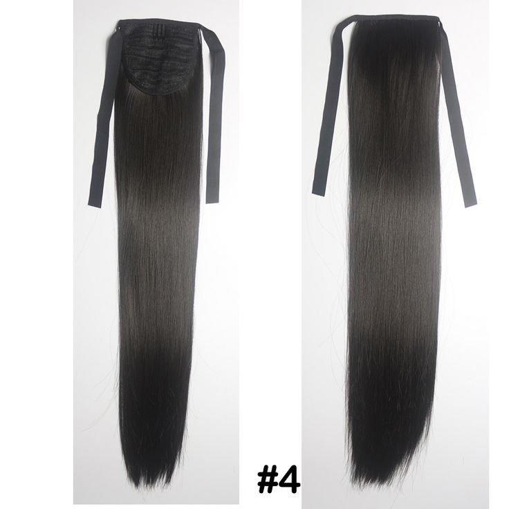 """24""""(60cm) 90g #4 dark brown Women straight Ponytail Long Synthetic Hair Clip In On Hair Extensions"""