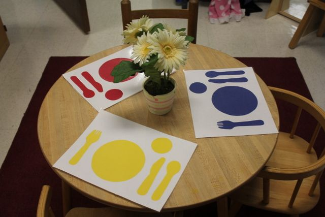 Trace play dishes to make placemats for the kitchen dramatic play area. - Pinned by Lessonpix.com