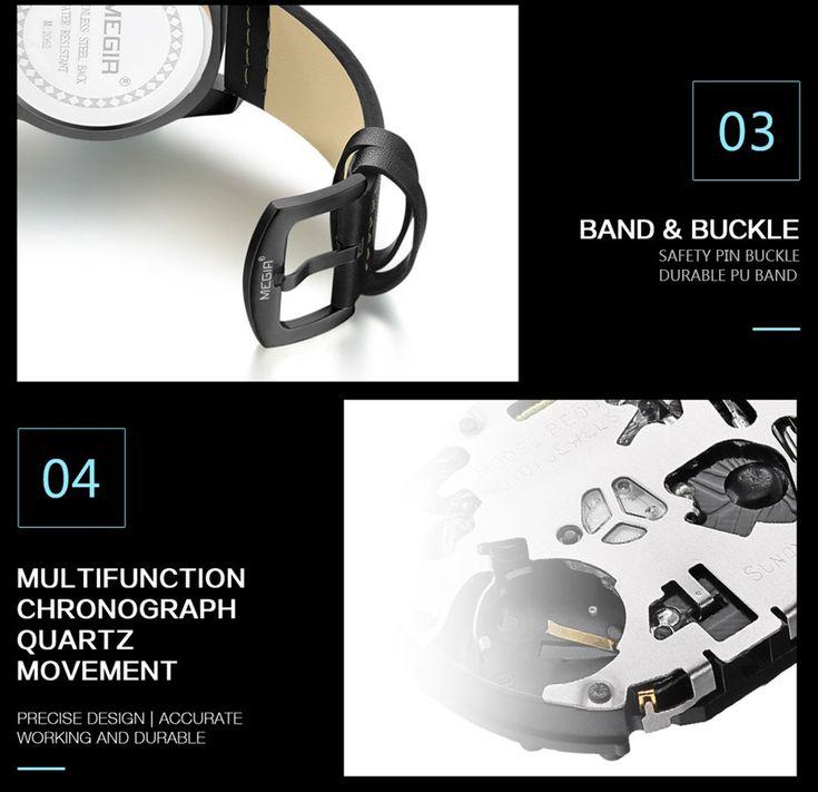 Cheap MEGIR Fashion Sport Men Watches 3ATM Water-resistant Quartz Online black&blue | Tomtop