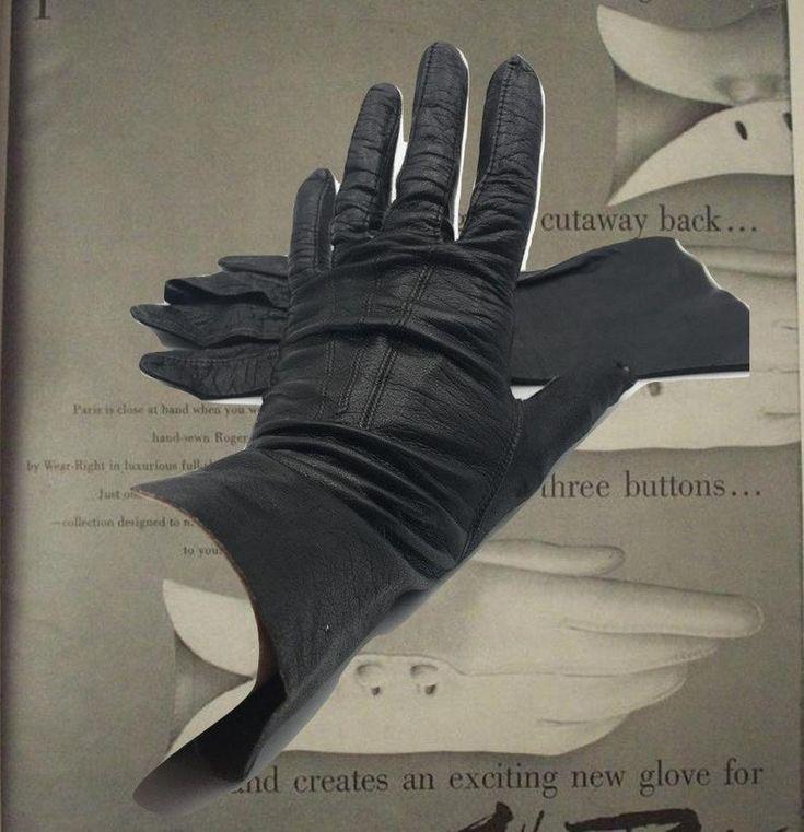 Ladies Vintage Gloves Black Leather Gauntlet Gloves Soft