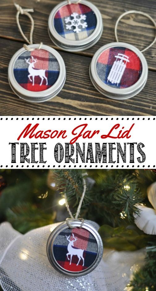Mason Jar Lid Tree Ornaments. These are SO cute and easy to do. Customize with whatever material you would like.