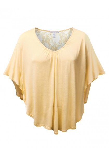Loose Ruffled Sleeve Top with Lace Back - New Arrival
