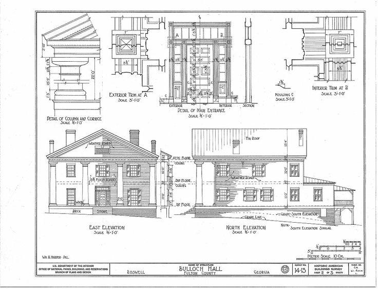 Bulloch Hall, Roswell, GA.  Historic American Buildings Survey drawings, sheet 2 of 3, 1934.