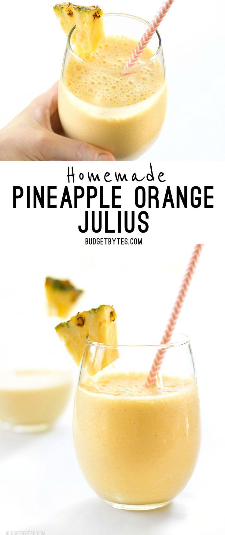 When you need a tropical escape this homemade Pineapple Orange Julius is the perfect sweet and creamy frozen drink to take you away. @budgetbytes