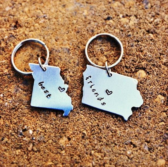 CUSTOM Long Distance Love KEYCHAINS Best Friend Gift by Nelliebead