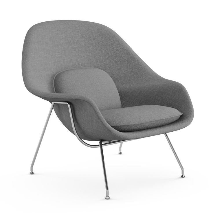 "Womb Chair | Knoll Womb Chair Eero Saarinen 1948 Eero Saarinen designed the groundbreaking Womb Chair at Florence Knoll's request for ""a chair that was like a basket full of pillows, something I could really curl up in."""