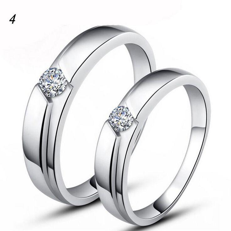 Two Pieces Stylish Women Men Korean Copper White Golden Zircon Couple Promise Rings lotes al por mayor Wedding