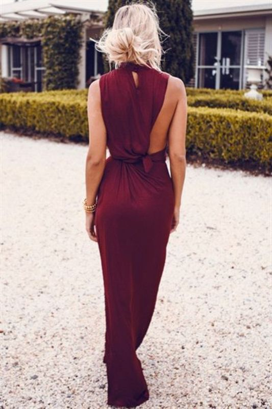 20 Stunning Marsala Bridesmaid Dress Ideas For Fall Weddings: #4. Creaitve wine-colored maxi dress
