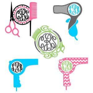 Hairdresser Hair Salon Pack with Scissors, Comb and Hair Dryer Monogram Round Circle Frame Cuttable Design Cut File. Vector, Clipart, Digital Scrapbooking Download, Available in JPEG, PDF, EPS, DXF and SVG. Works with Cricut, Design Space, Sure Cuts A Lot, Make the Cut!, Inkscape, CorelDraw, Adobe Illustrator, Silhouette Cameo, Brother ScanNCut and other compatible software.