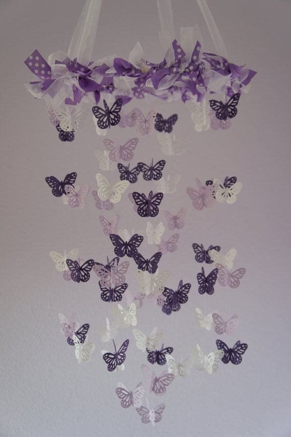 Butterfly Nursery Mobile   Purple, Lavender, And White Nursery Mobile For  Baby Girl Room Nursery Decor