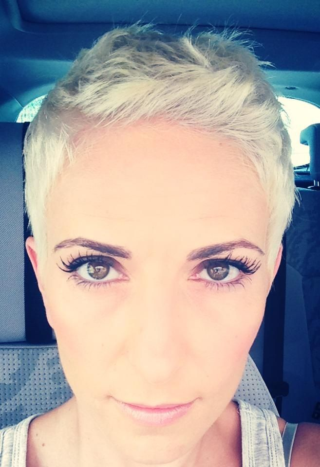 Gone for it. Platinum blonde pixie