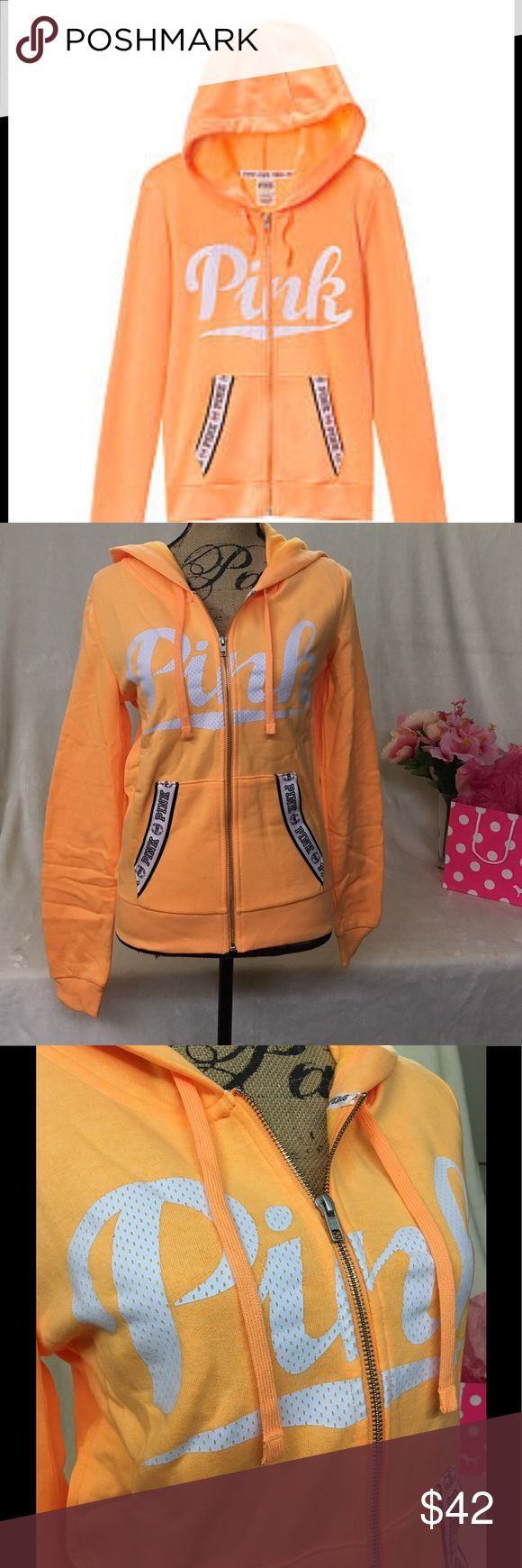 ✨🆕PERFECT FULL ZIP HOODIE🆕✨NWT SIZE M  This awesome full zip up with drawstring hoodie is super comfortable, lightweight & sports the PINK Logo in White across the chest. 2 decorated front slant pockets and the color is called Shine. Cotton/Poly blend. Imported. A very bright & Cheery jacket. Looks orange but looks yellow too. ITS A COOL COLOR❣️❣️BNWT  Online Purchase NO TRADES (sorry about wrinkles, straight out of online bag) PINK Victoria's Secret Jackets & Coats