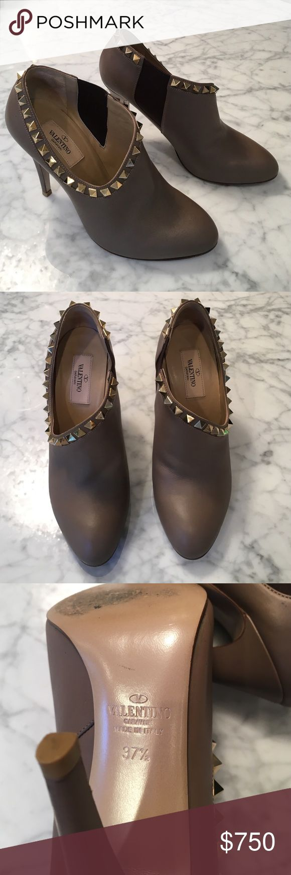 Valentino rock stud booties 7.5 mint! Taupe Valentino rock stud booties 7.5 mint! Made in Italy Valentino Shoes Ankle Boots & Booties
