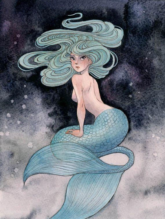 Blue Mermaid  8x10 print by reneenault on Etsy, $10.00
