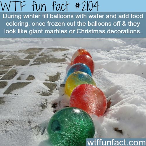 Water Balloons filled with dyed water and set outside to freeze, the balloon is cut off and you're left with orbs of ice in fun colors!