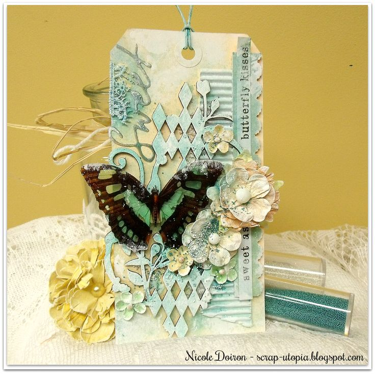 I created this tag for the More Than Words March Mini Challenge featuring the word SWEET! Find out more at http://scrap-utopia.blogspot.ca/2017/03/sweet-as-butterfly-kisses-tag-more-than.html #scraputopia #scrapbooking #handmadetag #morethanwordschallenge #morethanwords #mtw