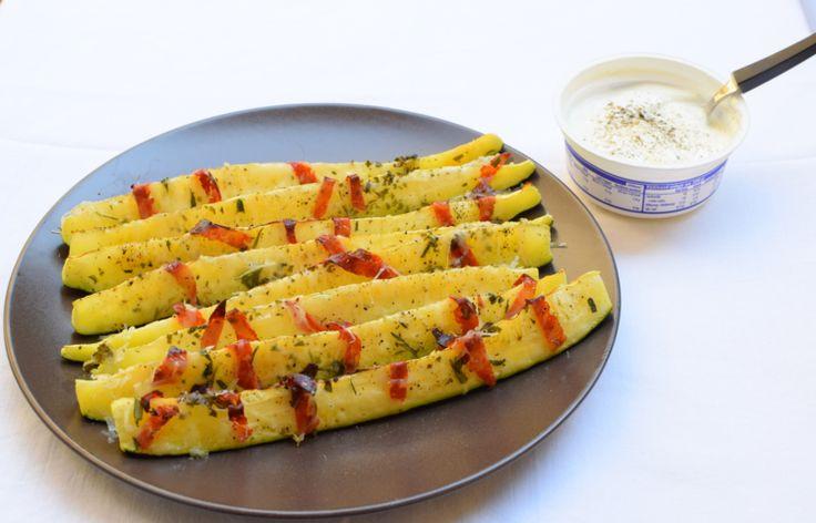 "zucchini ""little boats"" with chorizo picante, salt and pepper and greek yogurt"