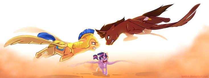 #417861 - action pose, alicorn, alicorn oc, artist:keekoi, commission, donut steel, eye contact, fight, flash sentry, flying, glare, gritted teeth, oc, oc:courageous heart, pegasus, princess twilight, royal guard, safe, self insert, twilight sparkle - Derpibooru - My Little Pony: Friendship is Magic Imageboard