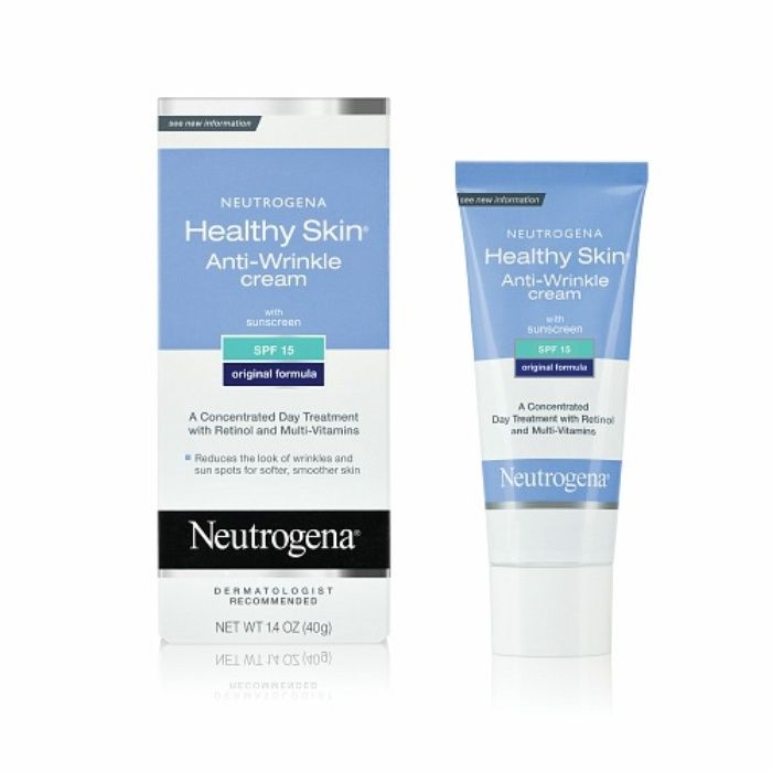 Rank & Style - Neutrogena Healthy Skin Anti-Wrinkle Cream with Sunscreen SPF 15 #rankandstyle #8NEUTROGENA HEALTHY SKIN ANTI-WRINKLE CREAM WITH SUNSCREEN SPF 15 Retinol is hard at work in this anti-wrinkle cream that reduces the appearance of fine lines and age spots. It also has SPF of 15 to provide light sun coverage, protecting you from future damage.  1.4 oz Oil-free