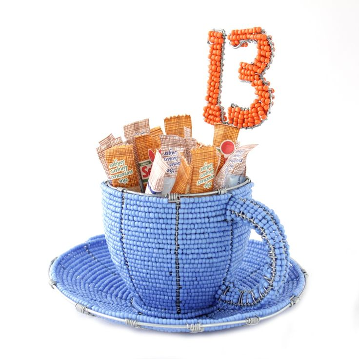 Beaded cup and saucer sugar sachet holder and table number. Can also be crafted without the table number.
