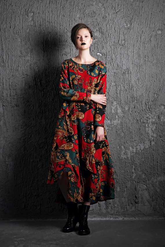 Paisley Linen Dress - Red Blue Colorful Loose-Fitting Long-Sleeved Maxi Long Casual Comfortable Plus Size Woman's House Dress C501