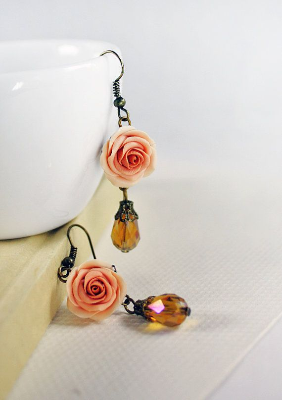 beige rose earrings, rose earrings , jewelry , bronze, polymer clay handmade