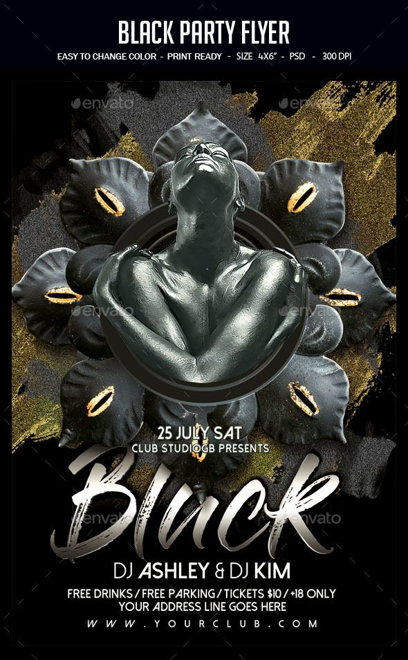 black party flyer professional club party flyer template flyer
