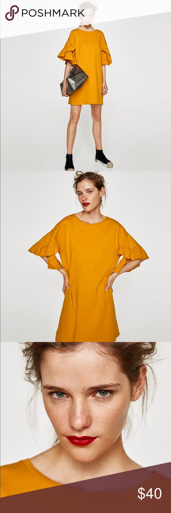 ZARA MUSTARD YELLOW DRESS W/ FRILLED SLEEVES Zara mustard yellow dress with frilled sleeves. Round neck. Short sleeves. Material feels like a very light sweatshirt. Brand new with tags. Zara Dresses Mini