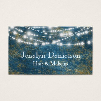 #hairstylist #businesscards - #Blue Gold Elegant Festive Hanging String Lights Business Card