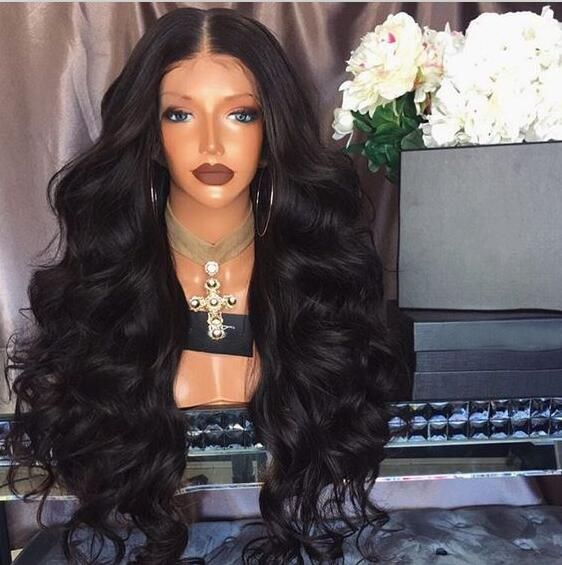 LUFFY Pre Plucked 250 Density Silk Base Lace Front Wigs Bleached Knots Non Remy Brazilian Human Hair Natural Wave Wig 12-24 Inch