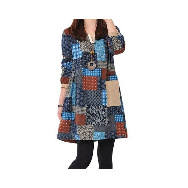 Vintage Women Plaid Loose Knee-Length Linen Cotton Dress ($21) ❤ liked on Polyvore featuring dresses, vintage day dress, linen dresses, collared dresses, long-sleeve maxi dress and vintage cotton dress