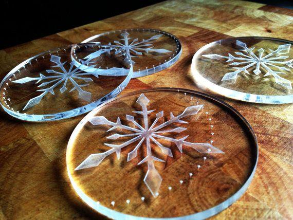 SET4 Christmas snowflake coasters acrylic coasters by DreamADesign