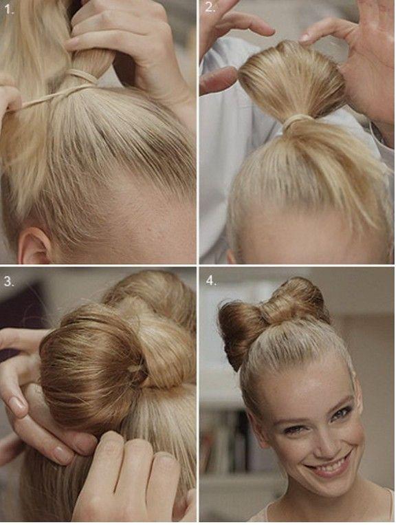Okul İçin Topuzlu Fiyonk Saç Modeli