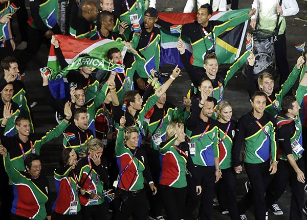 South Africa's Olympic team circles the stadium during the Opening Ceremony at the 2012 Summer Olympics, Friday, July 27, 2012, in London. (AP Photo/Charlie Riedel)