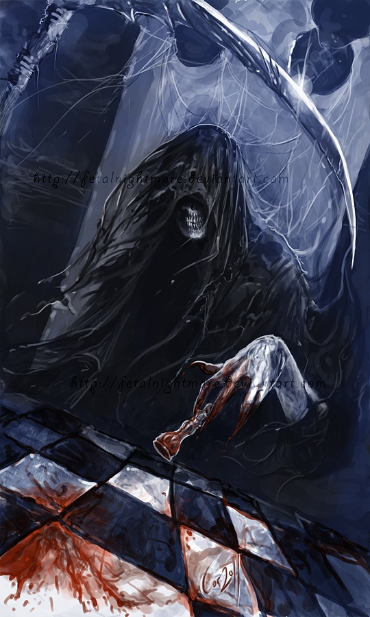 "Death sits in the chair across from me and watches. Death sees, but has no eyes. Death knows, but has no mind. We often sit together in the night; We play a game that's called ""My Life"". Death has one move left... I have none."