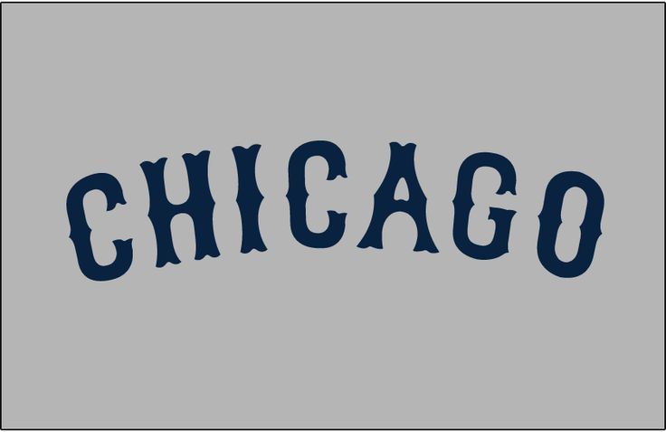 Chicago Cubs Jersey Logo (1926) - Chicago in navy blue Tuscan font arched on grey. Worn on Chicago Cubs road jersey during 1926 season