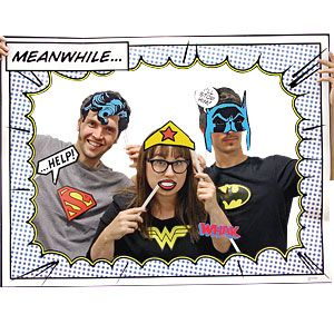 DC Comics photo booth props - perfect for a superhero photo booth or pop art superhero party!
