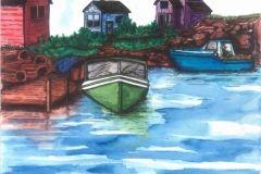 Green Boat at Dock
