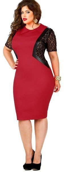 Beautiful Red Lace Sleeve Elegant Party Plus Size Dress