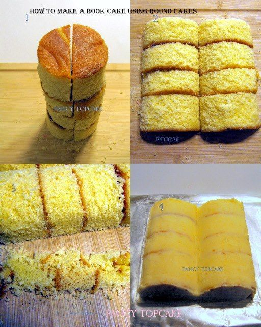How to make an 'open book cake' You will need to use 3 or 4 round cakes, place your round cakes on the top of one another and vertically cut them all the way through in the middle of your cake. Step 2: Put the cake horizontally on the flat board with the same order the cake was cut.