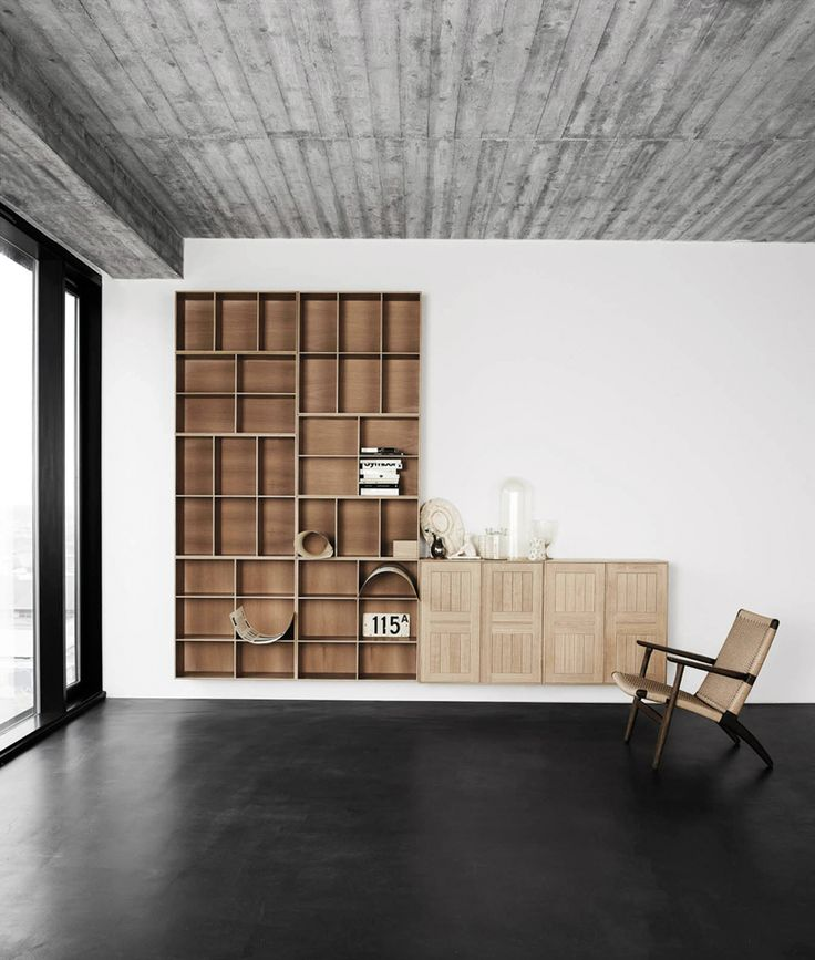 Shelving system designed in 1928 by Danish designer Mogens Koch for his Copenhagen home and released last year in oak and ash as the newest addition to Denmark-based brand Carl Hansen & Son.