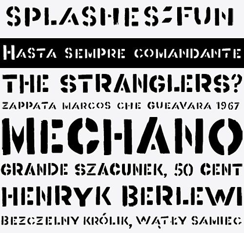 FA Berlewi.  Henryk Berlewi was a precursor of contemporary typography, a painter, an art theoretician and the creator of the mechano-facture (Mechano-Faktura) theory. In 1924 he designed a poster for his mechano-facture one-man show in Warsaw Austro-Daimler car salon.  FA Berlewi is inspired by stencil letters of this vanguard creator.  Font design: Artur Frankowski, 2006 cc: @egtypo