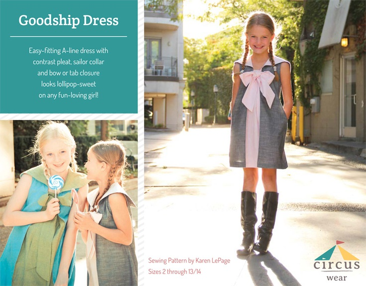 The Goodship Dress pattern sizes 2T- 13/14 by Circus Wear  At @GoToPatternsTeen Girls Sewing Pattern, Girls Generation, Goodshipdress Pattern, Dress Sewing Patterns, Goodship Dresses, Beginners Bows, Bows Reviews, Dresses Sewing Pattern, Girls Size 14 Dresses Pattern