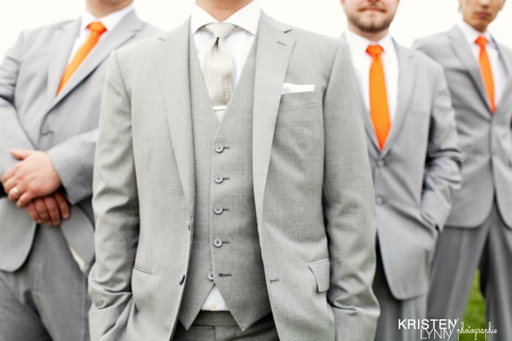 Groom & Groomsmen. Love the Orange.