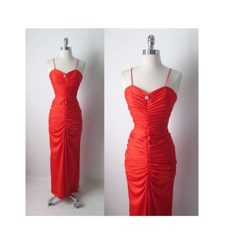 Vintage 50's inspired Red Fredericks Of Hollywood Full Length Dress Gown by bombshellbettys on Etsy