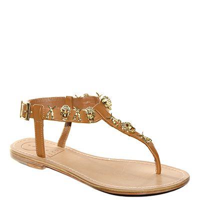 #Sandalo basso  con il fondo cuoio realizzato in pelle color cuoio con teschi decorativi in rilievo di #Suite159  http://www.tentazioneshop.it/scarpe-suite-159/sandalo-s13186-cuoio-suite-159.html