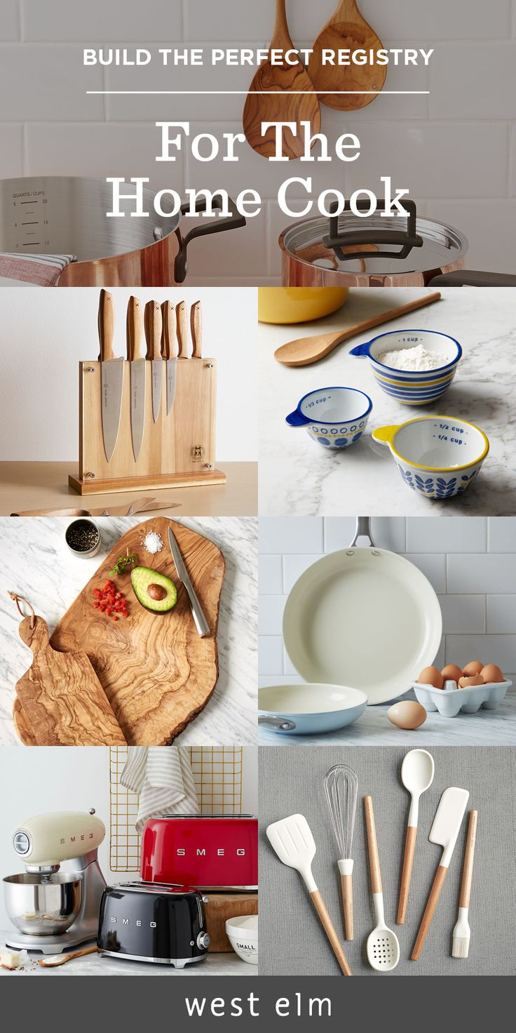 Love to cook? Don't forget to add kitchen essentials like cookware, cutting boards, kitchen appliances, and a great set of knives to your registry.