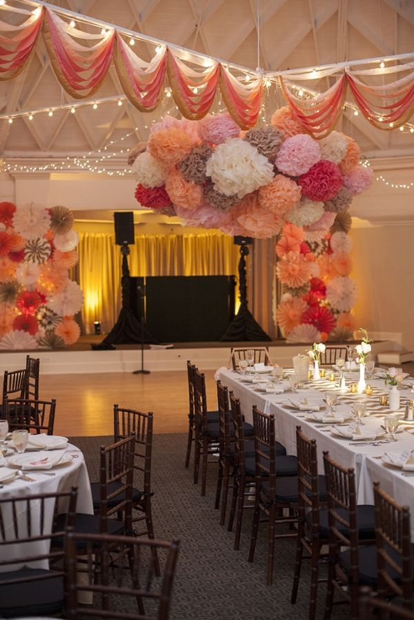 DIY Wedding | amazing DIY wedding decor! poms, streamers, chevron, glitter, pinwheels... :):