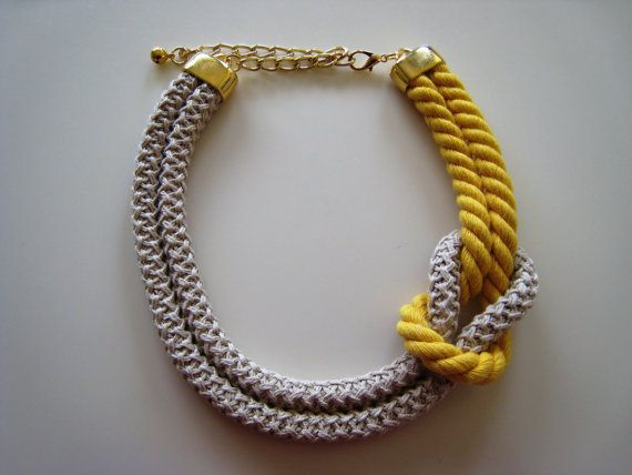Short Handmade Knot Necklace with beige knitted cord & colour twisted cord! Knit necklace available in many colours!!