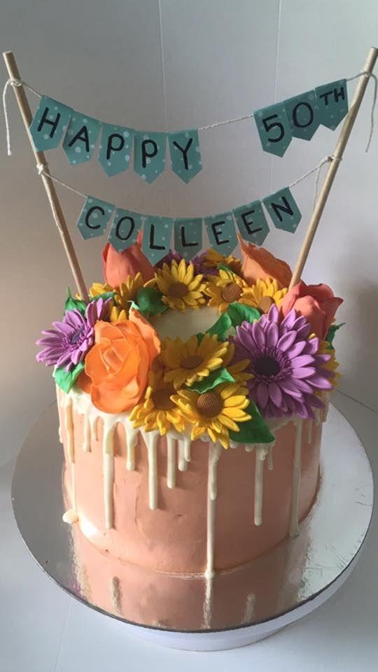 50th Birthday Cake #drip #ganache #gumpaste #flowers #fondant #roses…